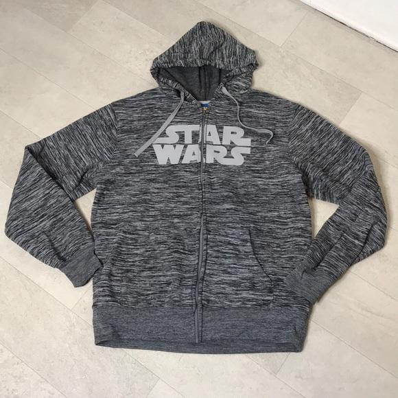 Star Wars Men's Hoodie Sz L Gray Zip Up